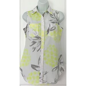Merona Sleeveless Pineapple Printed Button Up Top